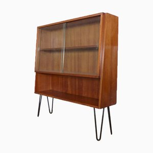 Vintage Showcase Cabinet with Shelf and Glass Sliding Doors