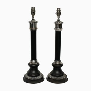Mid-Century Bronze and Silver-Plated Column Table Lamps, Set of 2