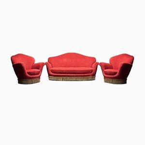 Canapé et Fauteuils Vintage dans le Style de Munari, 1950s, Set de 3