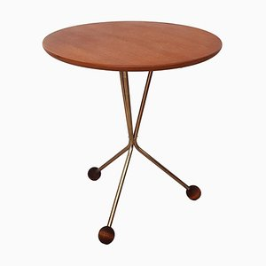 Vintage Teak and Copper Tripod Side Table by Albert Larsson for Alberts Tibro