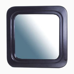Square Mirror with Lacquered Wooden Frame, 1970s