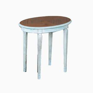 Vintage White and Blue Lacquered Side Table in Beech