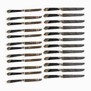 Ebony and Silver Knife Box, Set of 24