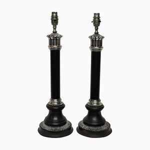 Mid-Century Tischlampen aus Bronze & versilberter Säule, 2er Set
