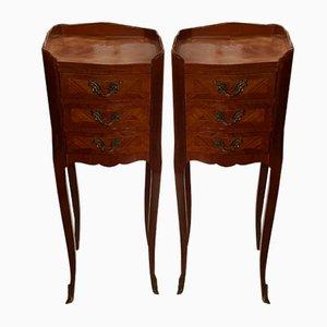 Tables de Chevet en Bois Rose, Set de 2