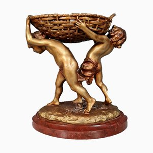 Putti Table Centerpiece with Golden Patina