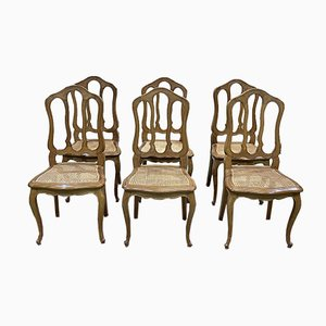 Louis XV Style Chairs in Blond Oak, Set of 6