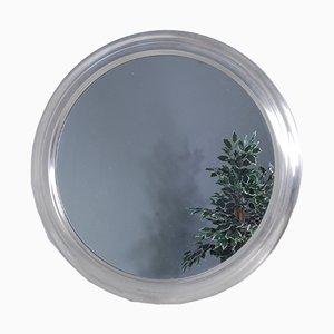 Round Mirror with Aluminum Frame, 1970s