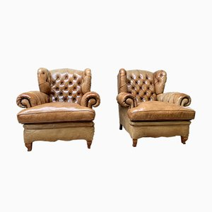 Early 20th-Century Leather Winged-Back Club Chairs, Set of 2