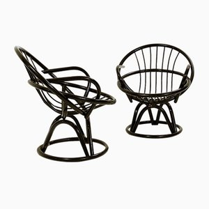 Black Lacquered Shell-Shaped Armchairs, 1960s, Set of 2