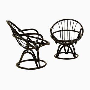 Fauteuils en Forme de Coquillage Laqués Noirs, 1960s, Set de 2