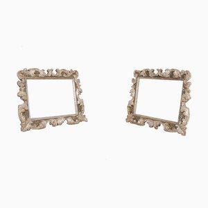 Miroirs avec Cadre en Bois Sculpté et Craie Dorée, Fin 1800s, Set de 2