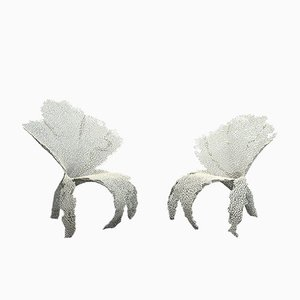 Anacleto Sweeper Orchid Armchairs in Metal by Anacleto Spazzapan