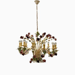 Large Vintage Italian Tole Flower Chandelier with 12 Lights