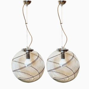 Murano Glass Suspension Lamps, 1970s, Set of 2