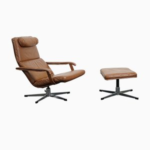 Vintage German Brown Leather Lounge Chair and Ottoman, 1970s, Set of 2