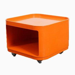 Orangefarbener Vintage Quadrati Servierwagen von Anna Castelli Ferrieri für Kartell, 1970er