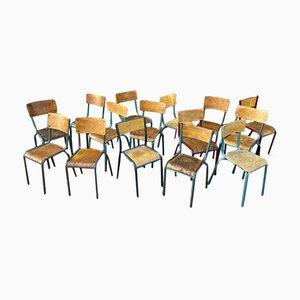 Vintage Industrial School Chairs, Set of 15