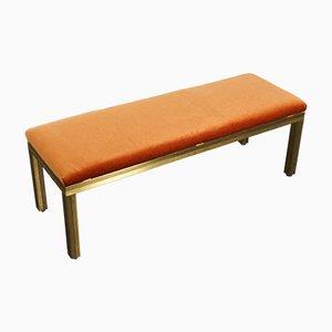 Vintage French Hollywood Regency Orange Velvet Bench, 1970s