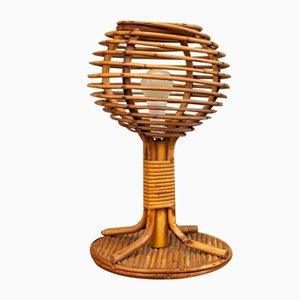 Lámpara de mesa de ratán, años 60