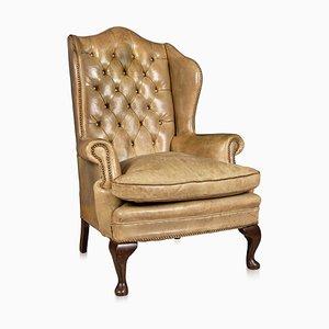 Late 20th-Century English Sheepskin Leather Wingback Armchair