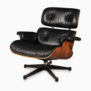 Black Leather Lounge Chair by Charles & Ray Eames for Vitra, 1980s