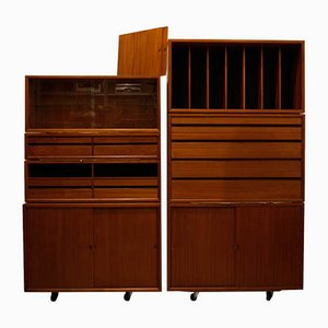 Teak Cabinets, Display Cases and Containers by Poul Cadovius for Cado, 1960s, Set of 7