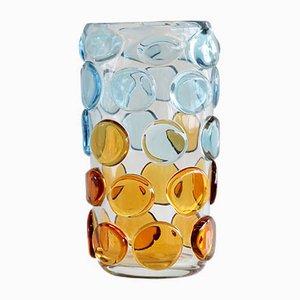 Murano Glas Vase mit Blasen in Hellblau und Orange, Italien