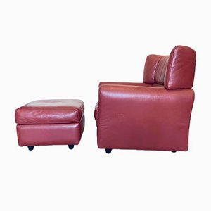 Leather Armchair and Pouf from Zanotta, 1980s, Set of 2