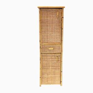 Schrank aus Korbgeflecht und Bambus, 1970er