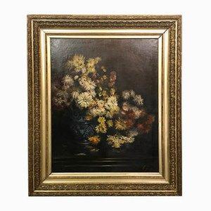 Huile sur Toile, Bouquet d'Automne dans un Cadre en Bois Doré, E. Jouas