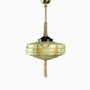 Vintage Green Ceiling Lamp, 1940s