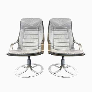 Swivel Lounge Chairs, Sweden, 1970s, Set of 2