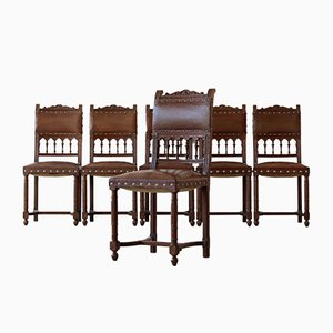 Oak & Leather Dining Chairs, Set of 6