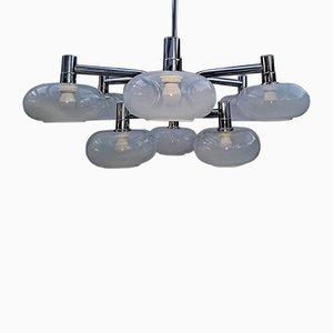 Large Mid-Century Italian Chrome Ceiling Lamp by Gaetano Sciolari
