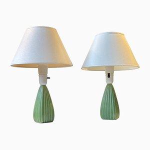 Geriffelte Grüne Keramik Tischlampen von Einar Johansen für Søholm, 2er Set