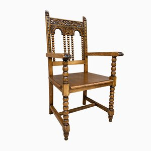 19th-Century French Carved Oak Turned Wood Armchair