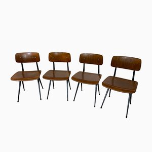 Vintage Industrial Metal and Wood Result Chairs by Friso Kramer for Ahrend De Cirkel, 1960s, Set of 4