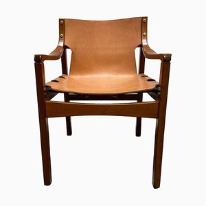 Natural Leather and Wood Chair, Italy, 1960s