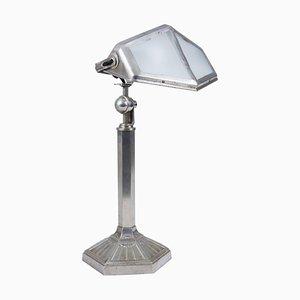 Französische Verstellbare Art Deco Lampe aus Nickel & Messing, 1920er