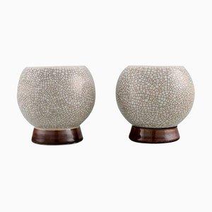 Art Deco Vases in Hand-Painted Crackle Porcelain from Bing & Grøndahl, 1920s, Set of 2