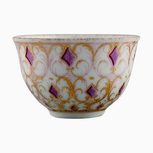 Tasse Antique en Porcelaine Peinte à la Main avec Violet et Or de Meissen