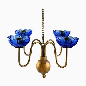 4-Candle Chandelier in Brass and Art Glass by Gunnar Ander for Ystad Metall
