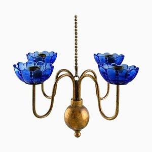 4-Kerzen Kronleuchter aus Messing und Kunstglas von Gunnar Ander für Ystad Metall