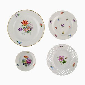 Antique Bowl & Porcelain Plates with Hand-Painted Flowers from Meissen, Set of 4