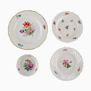 Bol et Assiettes Antiques en Porcelaine avec Fleurs Peintes à la Main de Meissen, Set de 4