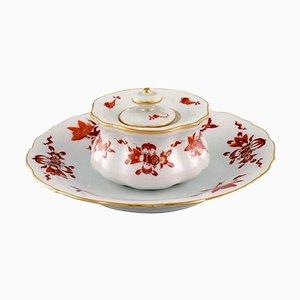 Encrier Dragon Rouge Antique en Porcelaine Peinte à la Main de Meissen, Set de 2
