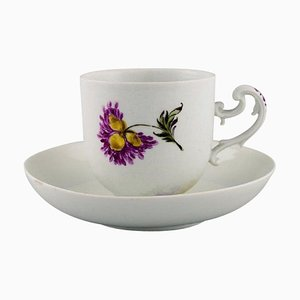 Antique Coffee Cup with Saucer in Hand-Painted Porcelain from Meissen, Set of 2