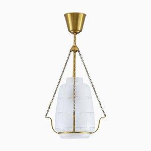 Scandinavian Modern Pendant in Brass and Glass, 1940s