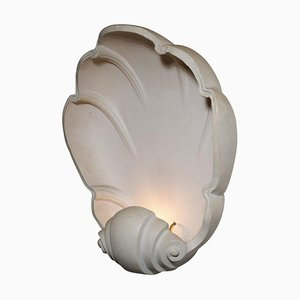 Large French Plaster Shell Wall Light, 1980s